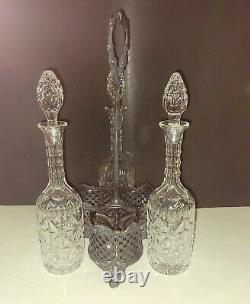 Antique English Silverplate Cut Crystal 3 Decanter Tantalus Liquor Caddy EUC