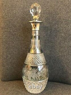 Antique English Sterling Silver Crystal Aqua Cut to Clear Tall Decanter Bottle