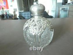 Antique English Sterling Silver Overlay Cut Crystal English Cordial Decanter