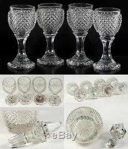 Antique French Baccarat 9.5 Decanter, 4 Cordial Goblets, c1830 Diam Cut Crystal