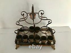 Antique French Liquor Set With Stand Decanters / Shot Bowls In Ormolu Gold Gilt