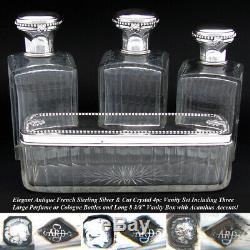 Antique French Sterling Silver & Cut Glass 4p Vanity Set, 3 Decanters & 8.5 Box