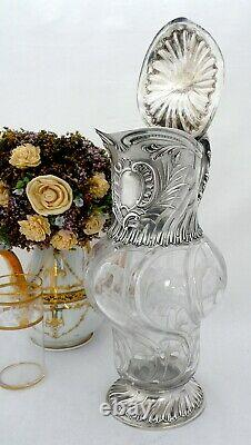 Antique French Sterling Silver and Crystal Cut Spectacular Decanter by Guerchet