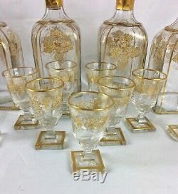 Antique French Tantalus liquor cabinet w glass decanters & cut glass cordials