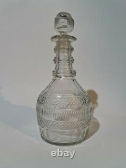 Antique Georgian 19th Century 3 Ringed Cut Glass Decanter 9 Inches Tall