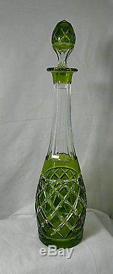 Antique Green cut Crystal Heavy Glass Wine Decanter Bottle /stopper Numbered 16