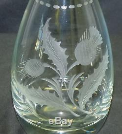 Antique Hawkes Thistle Cut Glass Decanter Bottle with Signed Sterling Silver Top