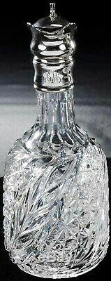 Antique Hoare Wheat Pattern Cut Glass Sterling Silver Mounted Whiskey Decanter