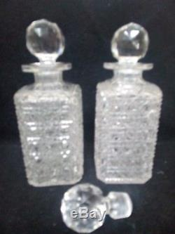 Antique Lead Crystal Hobnail Cut Glass Decanter decanters x 2 & extra stopper