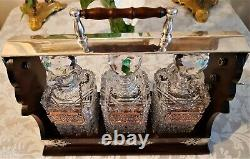 Antique Mahogany Tantalus With 3 Glass Decanters