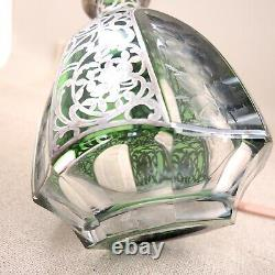 Antique Moser Decanter Sterling Silver Overlay Engraved Green Cut-to-Clear Czech