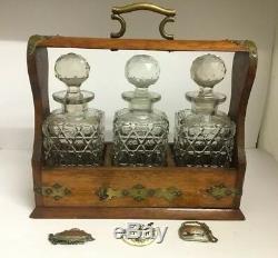 Antique Oak & Brass Tantalus & Three Lead Crystal Decanters Lock & Key