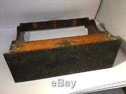 Antique Oak & Brass Tantalus & Three Lead Crystal Decanters, Sliding Mechanism