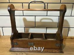 Antique Oak & Brass Tantalus With Key Holds Three Decanters