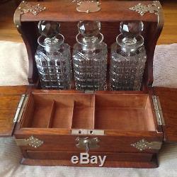 Antique Oak Tantalus Chest 3 Cut Crystal Liquor Decanter Bottles