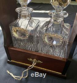 Antique Oak Tantalus & Key-Two Royal Scot Lead Crystal Decanters + Silver Labels