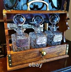 Antique Oak Tantalus With 3 Glass Decanters