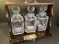Antique Oak Tantalus With Three Lead Crystal Decanters & Key