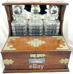 Antique Oak Three Bottle Tantalus Games Compendium Decanters & Glasses