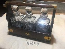 Antique Original English Tantalus, C. 1870 Liquor case with 3 cut glass decanters