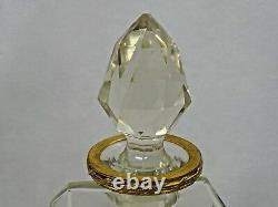 Antique Pair Decanters. Hand Cut Crystal Dore Bronze Liquor Whisky Cognac Wine
