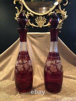 Antique Pair of Bohemian Cut & Etched Cranberry Glass Liquor Decanters