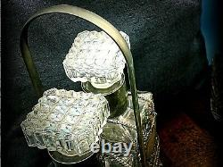 Antique Set of 2 Whisky Gin Decanters Cut Glass Silver Collars in Silver Basket