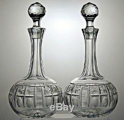 Antique Shaft And Globe Lead Crystal Cut Glass Round Decanters Set Of 2- 11tall