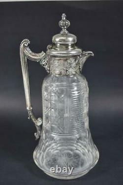 Antique Silver Plate & Cut Glass Pitcher, Carafe, Claret