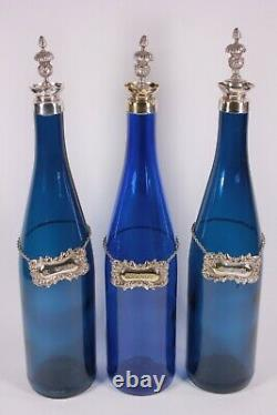 Antique Silver Plated Victorian Decanter Stand Blue Glass Bottles RUM GIN BRANDY