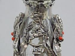 Antique Silver / Red Coral Decanter Hand Cut Crystal Liquor Whisky Cognac Wine