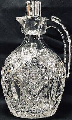 Antique Superior Early Heavy J. Hoare Or Hawkes Cut Glass Quart Whiskey Decanter