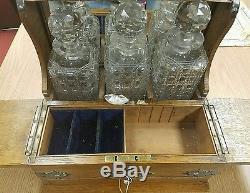 Antique Tantalus Chest 3 Cut Crystal Liquor Decanter Bottles