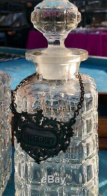 Antique Tantalus With Three Cut Glass Decanters & Key & Hanging Tags