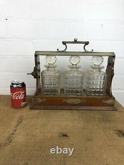 Antique Three Cut Glass Crystal Decanters in Wooden Tantalus with Key AF