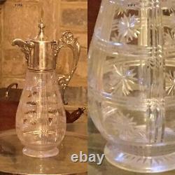 Antique UNUSUAL CLARET JUG DECANTER DEEP STEP CUT GLASS SILVER PLATED DAVID STAR