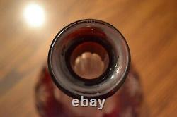 Antique VAL SAINT LAMBERT Ruby Red Cut To Clear Crystal Liquor Decanter 13