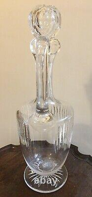 Antique Victorian Clear Cut Glass Footed Claret Jug Wine Decanter c 1880 13 inch