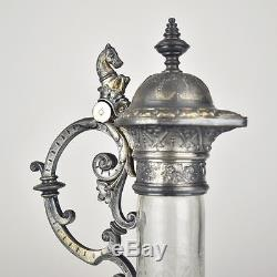 Antique Victorian Engraved Silver Plated Cut Glass Claret Jug Decanter Carafe