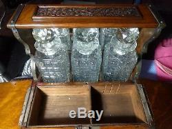 Antique Victorian Oak Silver Plate Mounts Games Compendium 3 Decanter Tantalus