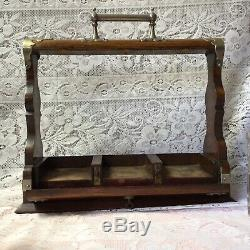 Antique Victorian Oak Tantalus, Original Three Cut Glass Decanters & Stoppers