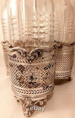 Antique Victorian Set 3 Cut Glass Spirit Decanter on Silver Plated Steel Stand