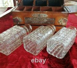 Antique Victorian Vintage Oak Cut Glass Decanters Tantalus. Bar Alcohol. Gift