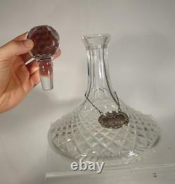 Antique Vintage Cut Glass Decanter Sterling Silver Brandy Label Crystal Bar