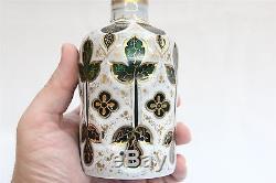 Antique Windowed Moser Cut Glass Gold Gilt Art Novueau Lidded Decanter Bottle