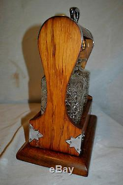 Antique c1870 Oak Silver Tantalus Cut glass Decanter Crown Staffordshire England