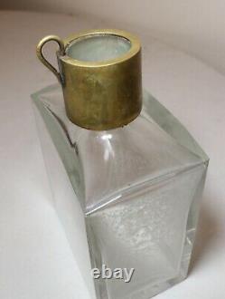 Antique clear cut crystal brass liquor wine decanter lockable glass bottle
