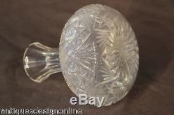 Antique cut crystal wine carafe bottle Georgian ships decanter bulbous hand blow