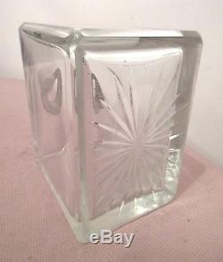 Antique sterling silver cut crystal glass heavy square spirit liquor decanter