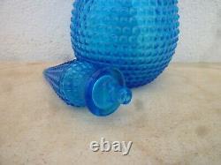 Aqua blue diamond cut italian glass genie bottle decanter midi size